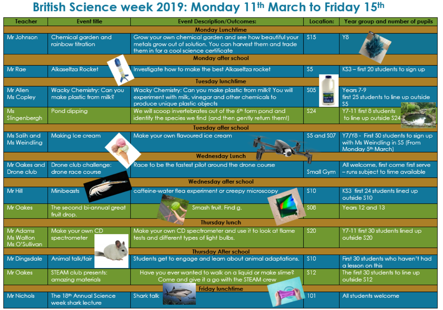 science week 2019 schedule